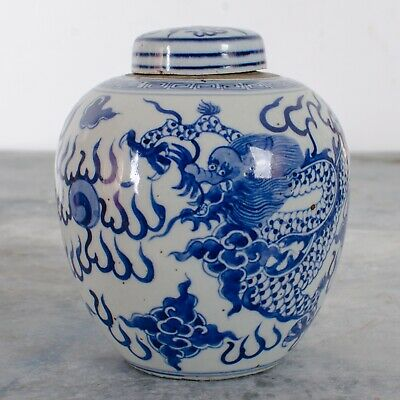 Chinese Blue and White Dragon Ginger Jar