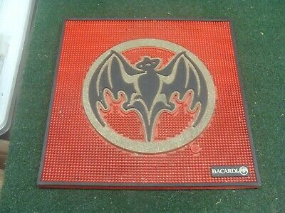 "Bacardi Rum Bar Spill Mat Red Rubber 17"" x 17"" Heavy Duty - good shape"