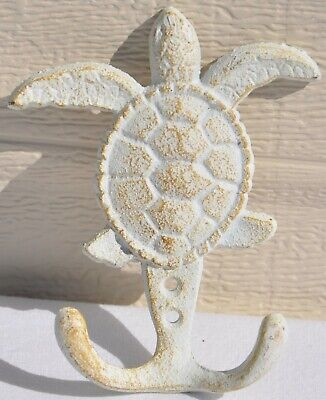 Hat Cast Iron Nautical Baby Sea Turtle 2 hooks for Towel Keys for fish camp