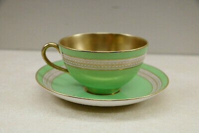 Original Cauldon England Green & Gold Gilt / Gilded Teacup Cup & Saucer