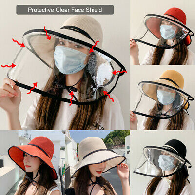 Summer Breathable Brim Sun Hat Removable Protective Face Shield Saliva-proof Cap