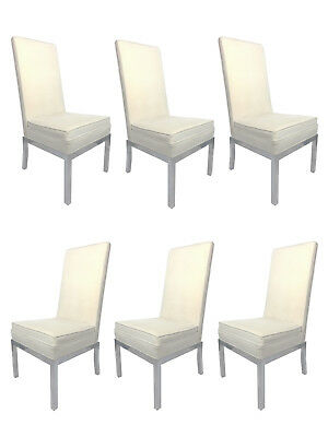 1960s DIA Milo Baughman High Back Chrome & Velvet Pinstripe Dining Chairs- 6 set