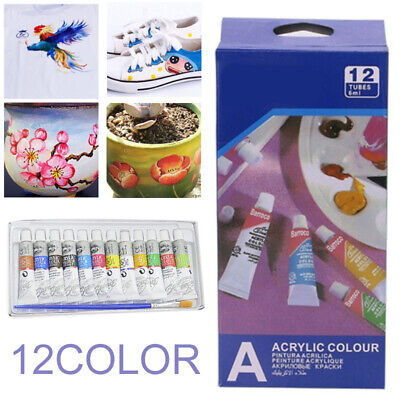 12 Color Acrylic Paint Set 6ml Tubes Artist Draw Painting Pigment With Brush Set
