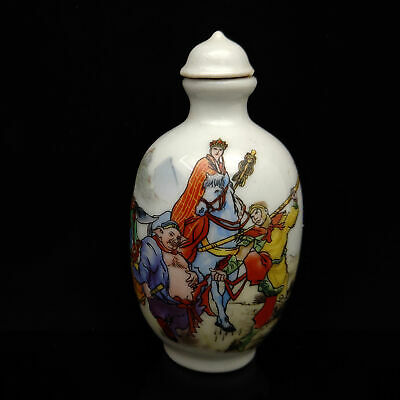 Chinese Exquisite Handmade Journey to the West pattern porcelain snuff bottle