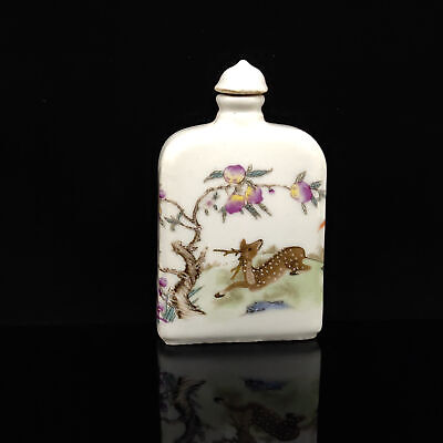 Chinese Exquisite Handmade Sika deer pattern porcelain snuff bottle s-150