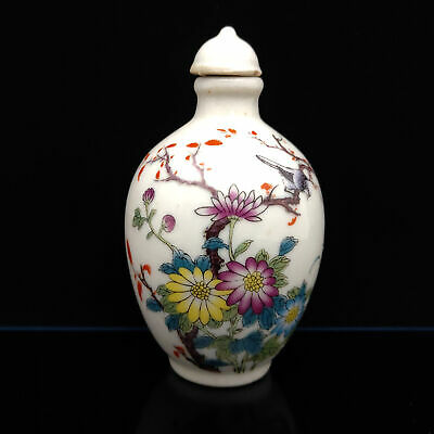 Chinese Exquisite Handmade Flowers & birds pattern porcelain snuff bottle  S-141
