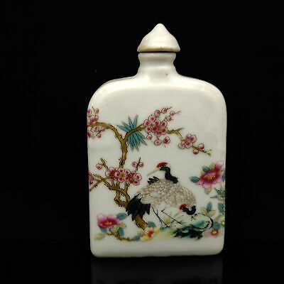Chinese Exquisite Handmade Red-crowned crane pattern porcelain snuff bottle