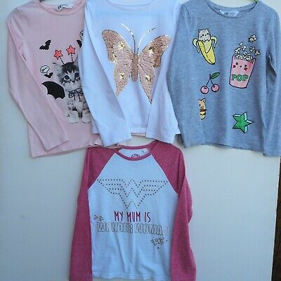 Fab Bundle of 4 Girl's Long Sleeve Tops / T Shirts NEXT, H&M, NUTMEG age 6 years