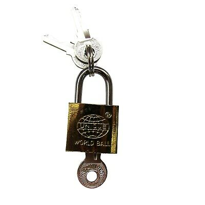 20mm padlock with 3 keys Brass Case Ideal for Travel Cupboard Draw Cases M10