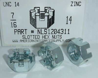 7/16-14 Hex Slotted Nut Steel Zinc Plated (5)