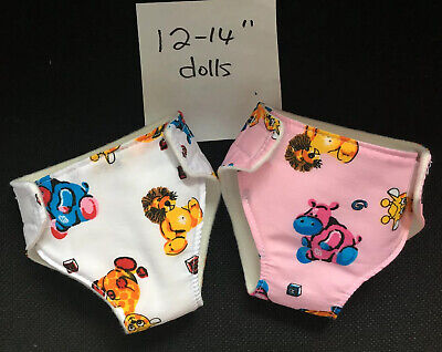 """2 New Dolls Nappies Fits Baby Alive 1st Baby Born Dolls Clothes 12-14"""""""