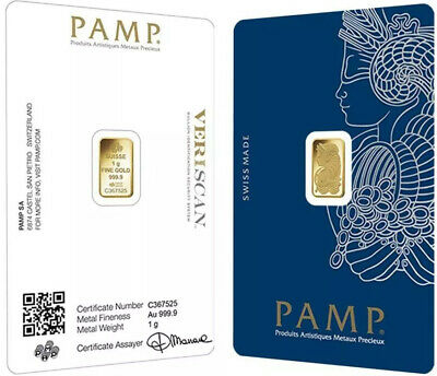 PAMP SUISSE 5 Gram Gold Bar NEW 24KT .9999 • In VERISCAN™️ Security Assay Card!