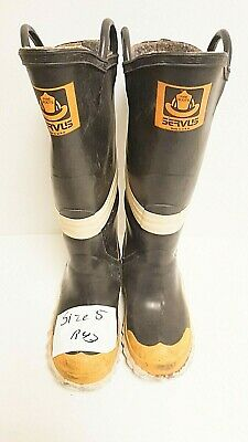 Servus Firefighter Turnout Rubber Boots Steel Toe Size 5 Medium R43