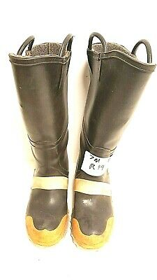 Servus Firefighter Turnout Rubber Boots Steel Toe Size Mens 7 Woman's 8 Wide R44