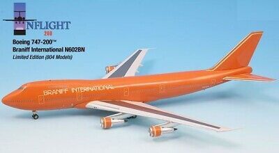 InFlight200 Braniff AirlinesULTRA ORANGE 747-200 1:200 Scale