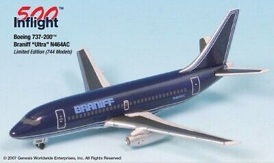 InFlight500 Braniff Airlines Ultra REG#N464AC Boeing 737-200 1:500 Scale
