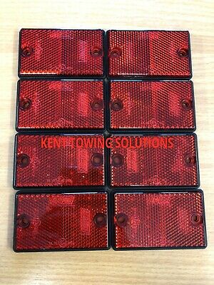 NEW X8 Maypole Radex Red Rectangular Trailer Drilled Reflector 77mm X 46mm 8722