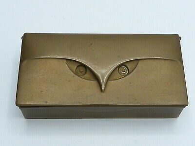 Art Deco Briefmarken Dose Eulen Dekor Messing Patiniert Stamp Box Owl