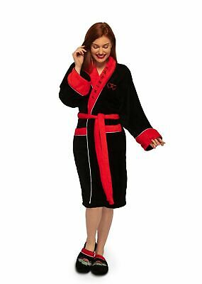 Friends Robe Ladies Black & Red Central Perk Fleece Bath Dressing Gown