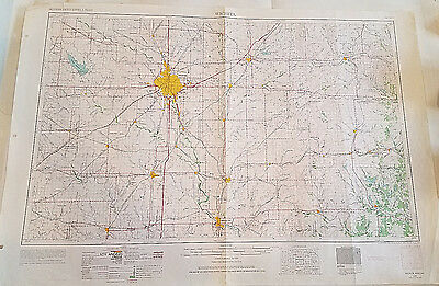 Vintage USGS Topo Map Wichita Kansas 1966 Fishing Oil Fields