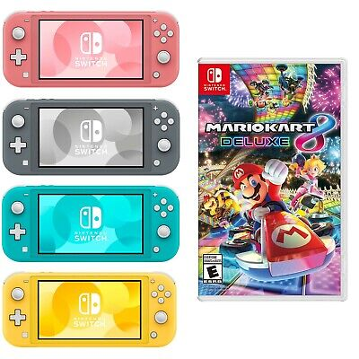 NEW Nintendo Switch Lite + Mario Kart 8 PICK COLOR Turquoise Gray Yellow Coral