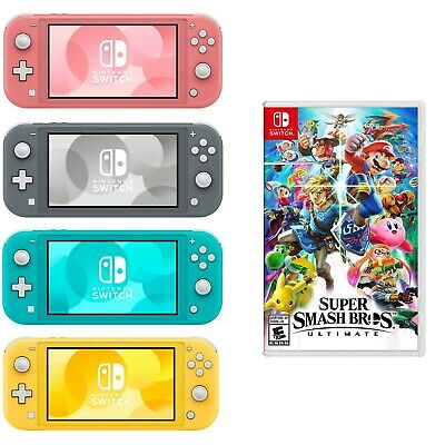 NEW Nintendo Switch Lite + Super Smash Bros Ult PICK Turquoise Gray Yellow Coral