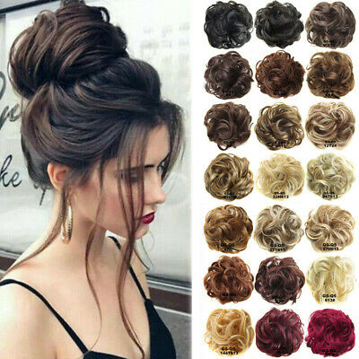Highlight Natural Curly Messy Bun Hair Piece Scrunchie Thick Hair Extension UK