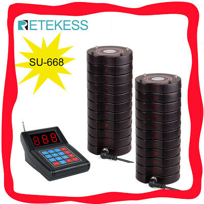 SU668 Hospital Restaurant Cafe Wireless Queuing System Keypad+20*Coaster Pagers