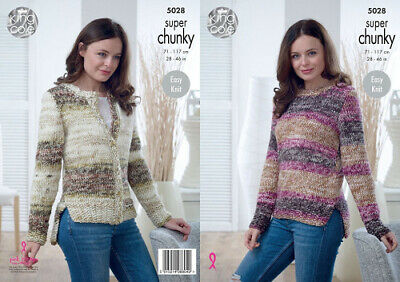 King Cole Ladies Double Knitting Pattern Raglan Cabled Sweater /& Cardigan 4938