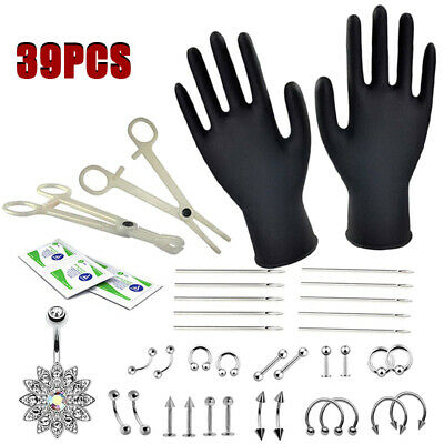 39pcs Professional Body Piercing Tool Kit Ear Nose Navel Nipple Needles Set UK..