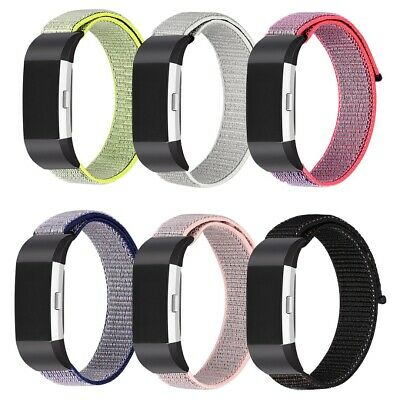 Replacement Woven Nylon Sport Loop Wristband Strap Quick For Fitbit Charge 2