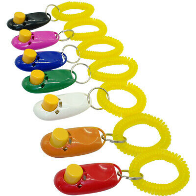 Dog Pet Cat Obedience Training Clicker/Trainer/Dogs Puppy Train Aid &Wrist Strap