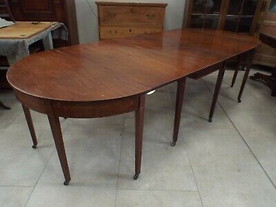Antique Georgian Mahogany D End Dining Table 9ft8''