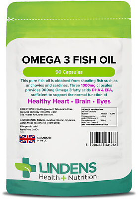 Omega 3 Fish Oil 1000mg Capsules (90 pack) Heart, Brain, Eyes [Lindens 4982]