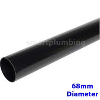 Rainwater Downpipe 1 Metre Lengths BLACK Round APPROX 68mm Pipe *FAST DEL*