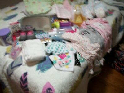 Newborn Baby Girl Lot Sleepers, Shoes, Bottles, Pacifers & more