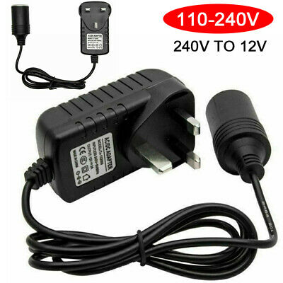240V Mains Plug to 12V Sockets Adapter Car Cigarette LED Lighter Power Converter