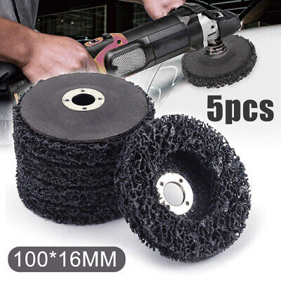 5X Poly Strip Disc Abrasive Wheel Paint Rust Removal Clean For Angle Grinder .UK