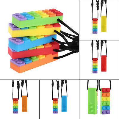 Rainbow Brick Chew Baby Kids Silicone Teether Autism Sensory Chewy Toy Necklaces