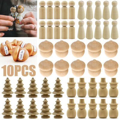 10x Wooden Wood Peg Dolls Little People Baby Child Peg Doll Kids Toy Crafts DIY