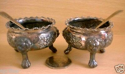 Claw & Ball Feet Antique Small Salt Pepper Mustard Dining  Pots