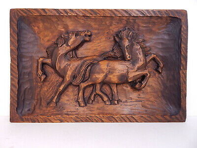BLACK FOREST German Wood Carving HORSES PLAYING Wall Panel Picture, Signed Dated