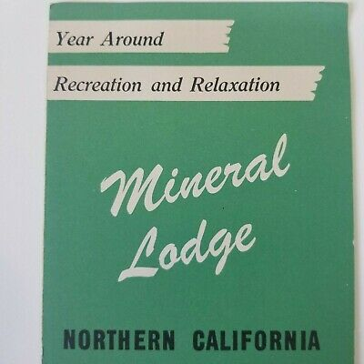 1952 Mineral Lodge Brochure & Map California Red Bluff Reno Tahoe Area Hwy 36