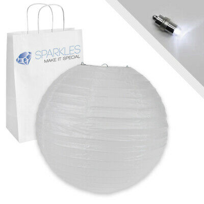 """12"""" inch Chinese Paper Lantern - White - w/ LED Lights - Wedding Party Event up"""