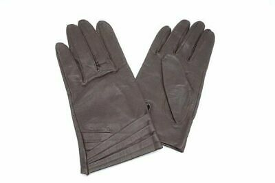 Christian Dior Lambskin Logo Gloves Leather Brown Good Condition 0177k