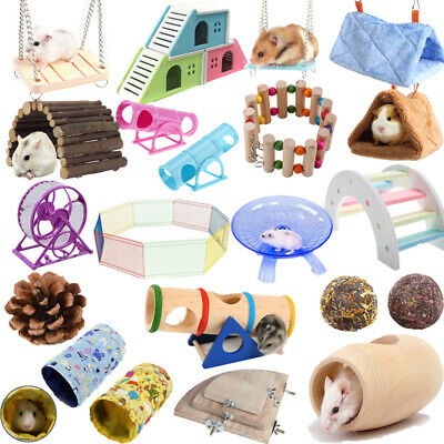 Pet Hamster Hanging Swing Running Wheel Guinea Pig Cage Bed Ladder Tunnel Toy UK