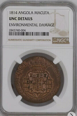 1814 Angola Macuta NGC UNC RARE Coin Red high value Make Offer