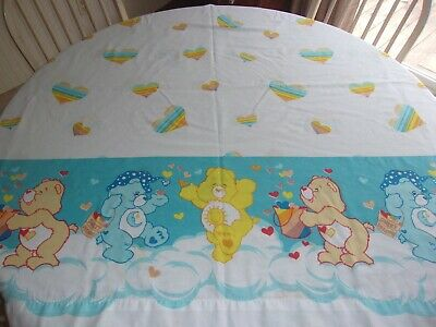 CARE BEARS Vintage FULL Size  Flat Top Sheet Hearts