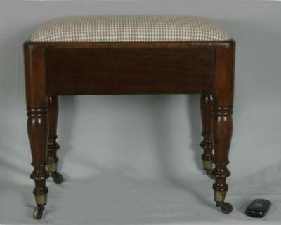 Antique William IV early Victorian mahogany foot stool bench upholstered 1840