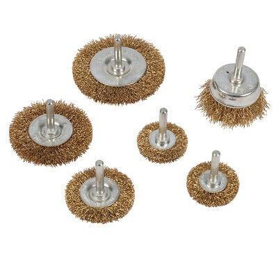 Rotary Wire Wheel & Cup Brush 6 Piece Set 6Mm Shank Use With Power Drill